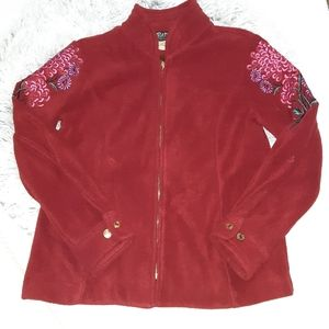 Bob Mackie WearableArt Fleece Embroidered Jacket S